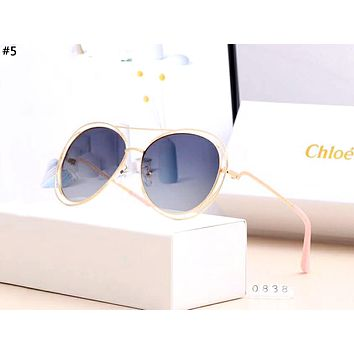 CHLOE personality tide brand metal large frame polarized sunglasses #5