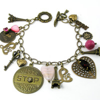 Eiffel Tower Charm Bracelet, Antiqued Brass Charms, Romantic, Pink Rhinestones, Fuchsia, Love, Vintage Inspired, Paris, Amour