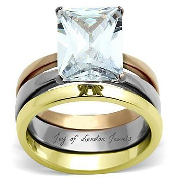5CT Emerald Cut Russian Lab Diamond Solitaire Bridal Set Wedding Band Ring