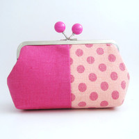 Pink Bead Frame Purse - pink polka dots patchwork