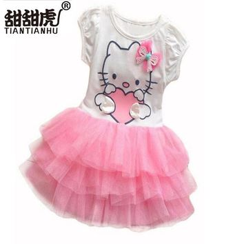 Baby Girls Cute Hello Kitty Cat Short Sleeve Tutu Dress With Bow Kids Pink Red Cotton Dresses Children Summer Clothing Vestidos