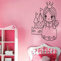 Wall Decal Vinyl Sticker Room Tattoo Little Princess Girl With Castle Crown 1292