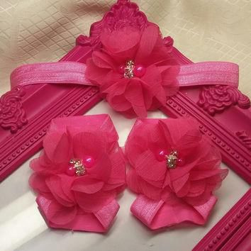 Hot Pink Chiffon Flower Headband and Barefoot Sandal Set!