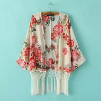Red Floral Fringed Kimono Cardigan
