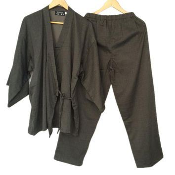 Cotton Yukata Japanese Kimono Men Pajamas Sleepwear Mens Cotton Kimono Robe and Pants M L Size