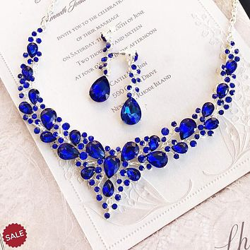 Royal Blue Bridal Jewelry Set, Bridal V Shape Necklace Earrings, Prom Jewelry Set