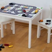 "Play mat for cars: Furniture sticker ""Small City"" sutitable for IKEA KRITTER kids table (1M-ST01-02) - Furniture not included"