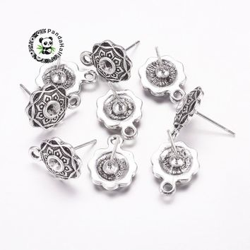 Alloy Ear Studs, Lead Free and Cadmium Free, Flower, Antique Silver Color, Earring: about 13.5mm long, 10mm wide, 3.5mm thick,