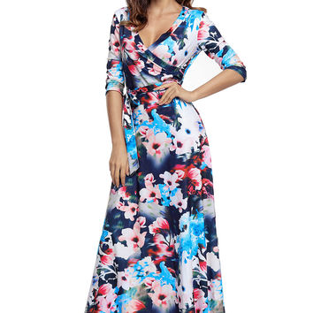 Bluish Floral Print Wrapped Long Boho Dress LAVELIQ