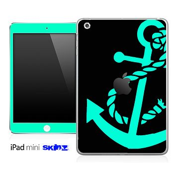 Solid Black and Trendy Green Anchor Skin for the iPad Mini or Other iPad Versions