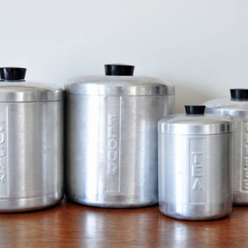 Vintage Brushed Aluminum Canister Set, Metal Kitchen Canisters, Black Knobs, Flour Sugar Coffee Tea