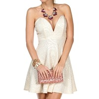 Ivory Embossed Short Dress