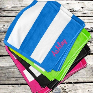 Striped Velour Beach Towel with Embroidered Name