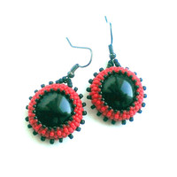 Beaded Earrings With Black Ceramic Beads-Dangle Seed Bead Earrings-Round Earrings-Beadwoven Earrings