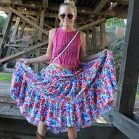 Vintage 70's Colorful Floral Maxi Flowy Skirt  from MyDarlingVintage