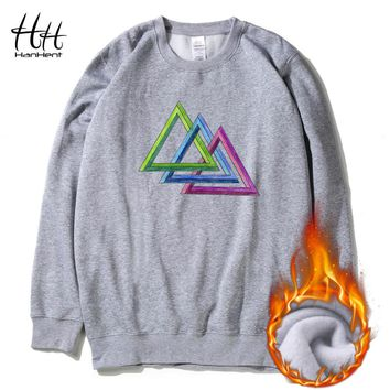 Payne Lodz Triangle Sweatshirts Fleece Thicken Men Winter Long Sleeve O-Neck Creative Pullover Hoodies Hip Hop