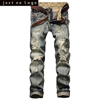 Cheap Vintage Destroyed Ripped Jeans for Mens Distressed Straight Slim Fit Pants Blue Jeans Denim Skinny Retro Trousers