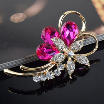 Fashion 2016 Bouquet Brooch Jewelry For Wedding Korean Cute Red Green Blue Flower Crystal Rhinestone Bride Brooch Pins Brooch