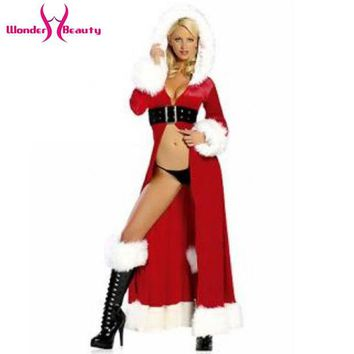 DCK9M2 High Quality 2016 Women Red Fancy Chrismas Hooded Robe With Black Belt Costume Sexy Miss Santa Claus Fancy Dress W134066