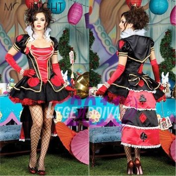 MOONIGHT Alice In Wonderland Halloween Queen Of Hearts Costume Cosplay Red Poker Playing Card Game Fancy Dress