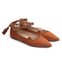 Brown Suede Lace-up Flats