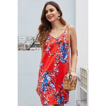 Summer Orange Floral Pattern Buttoned Slip Cami Dress
