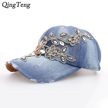 Luxury Studded Crystals Rhinestones Sequins Baseball Cap Women Summer Outdoor Casual Sun Bone Diamond Floral Snapbacks Brand Hat