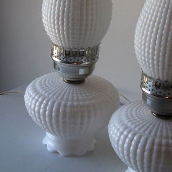 Vintage Pair White Milk Glass Hurricane Lamps / Pair Milk Glass Bedroom Lamps