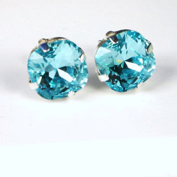 Turquoise Blue Crystal Studs