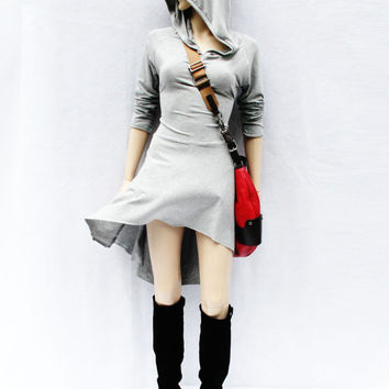 Hoodies / High Low Dress / Low High Dress / Hoodies for Women / Grey Dress / Lace Up Dress / Casual Dress