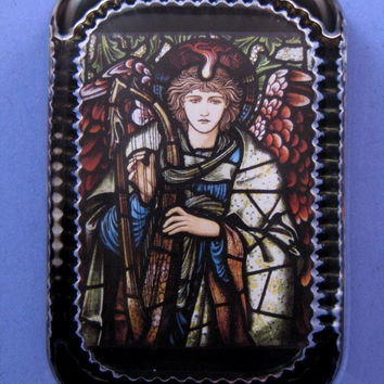 """Sir Edward Burne-Jones """"Angel with Harp"""" Stained Glass Window Heirloom Rectangle Glass Paperweight Home Decor"""
