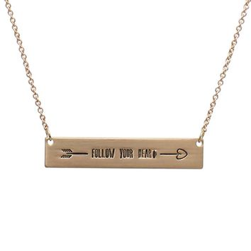 Follow Your Heart Message Bar Necklace