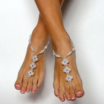 Barefoot Sandals for your Wedding on the Beach. Foot Jewelry. Anklet. Bridesmaids Gift