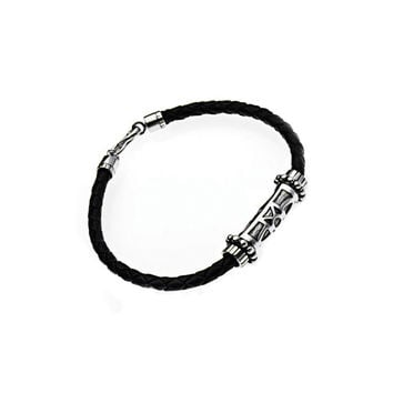 Jewish Star Sterling Silver Leather Bracelet
