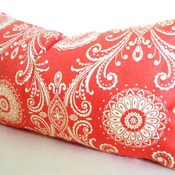 Orange Lumbar Pillow, Pillow with Orange, Bohemian Pillows, Orange and White Throw Pillow Covers 18x18 Inch