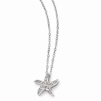 "Sterling Silver Diamond Mystique Starfish 18"" Necklace"