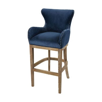 Roxie Navy Bar chair Navy,Reclaimed Oak