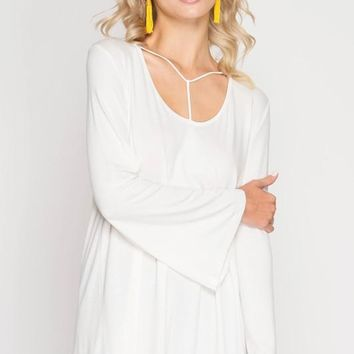 Long Sleeve Top with T-Strap Spaghetti Detail - Off White