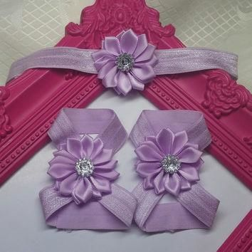 Light Purple Satin Rhinestone Flower Baby Headband and Barefoot Sandal Set