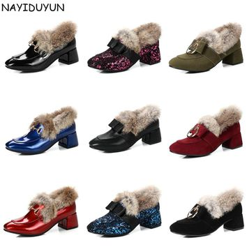 NAYIDUYUN   2017 Winter Warm Pumps Women Faux Fur Round Toe Ankle Boots Med Heel Western Cowboy Snow Boots Slip On Shallow Shoes