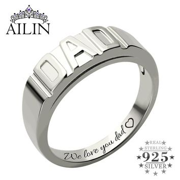 Sterling Silver Personalized Men's DAD Ring Handmade Family Ring Name Ring for Father