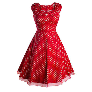 Womens Elegant Vintage Rockabilly Retro Polka Dot Short Sleeve Tunic Slim Casual Party Swing Fitted Wiggle Dress