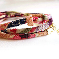 Kimono Bracelet, Sakura red Japanese Necklace, Japanese chirimen, Noble pink Sakura flower on purple - HANA MORI - Narrower width 【S size】