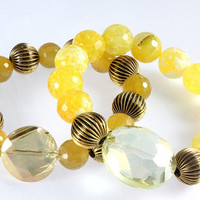 Stacking Bracelets, Yellow Agate, Crab Agate, Stretch Bracelets, Yellow Crystals