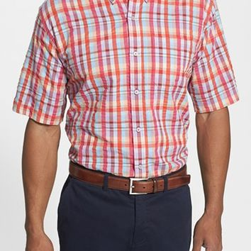 Men's Cutter & Buck 'Twin Lakes Plaid' Classic Fit Short Sleeve Seersucker Sport Shirt