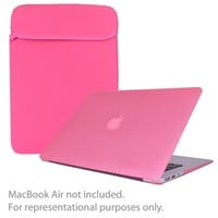 SlickBlue 4-in-1 Accessory Kit for 13 MacBook Air w-Sleeve-Hard Case Cover-Keyboard Cover-Screen Protector (Pink)