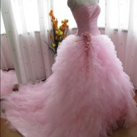 Pink Princess Ball Gown Pink Wedding Dress Ruffle Wedding Dress Sweetheart Prom Dress Home Coming Dress