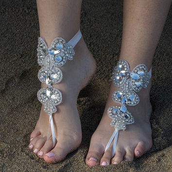 Rhinestone Bridal Anklet, Flexible Ankle  Barefoot Sandals, FREE SHIPPING Beach Wedding Barefoot Sandals, Beach Shoes Beach Sandals