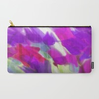 Meadow Flowers Abstract 2 Carry-All Pouch by Jen Warmuth Art And Design