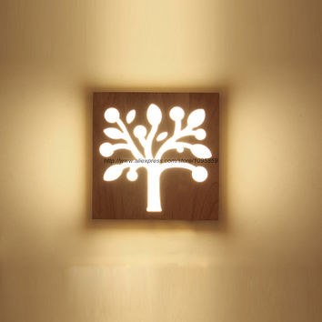 Modern LED Square Lighting Tree Wood Wall Lamps Lights Bedroom Wall Sconces Fixtures Night Light